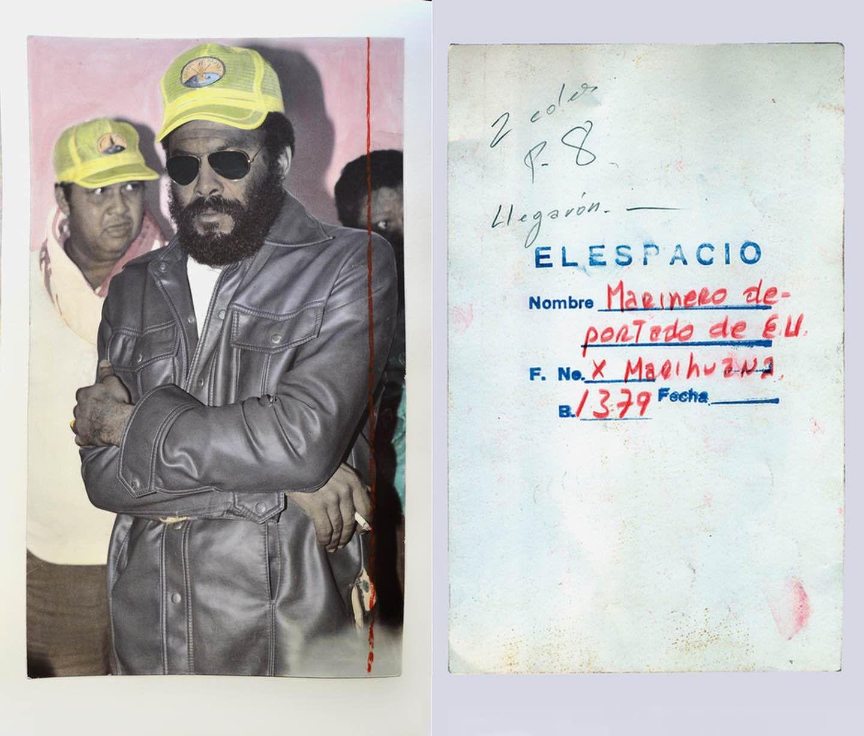 Моряки, депортированные вСША заторговлю марихуаной, иобратная сторона оригинальной фотографии.