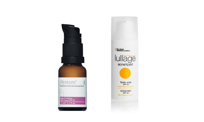 Нелипкий крем длялица свысокой степенью защиты High Protection Sun Cream SPF50, iSystem; Крем свысокой степенью защиты дляпроблемной кожи Acnexpert Fluido Solar SPF50, Lullage