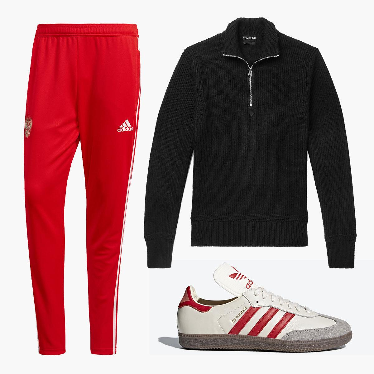 Тренировочные брюки adidas Football, 4000 рублей, джемпер Tom Ford, 77100 рублей, кроссовки adidas Originals Samba «Лужники», 10000 рублей