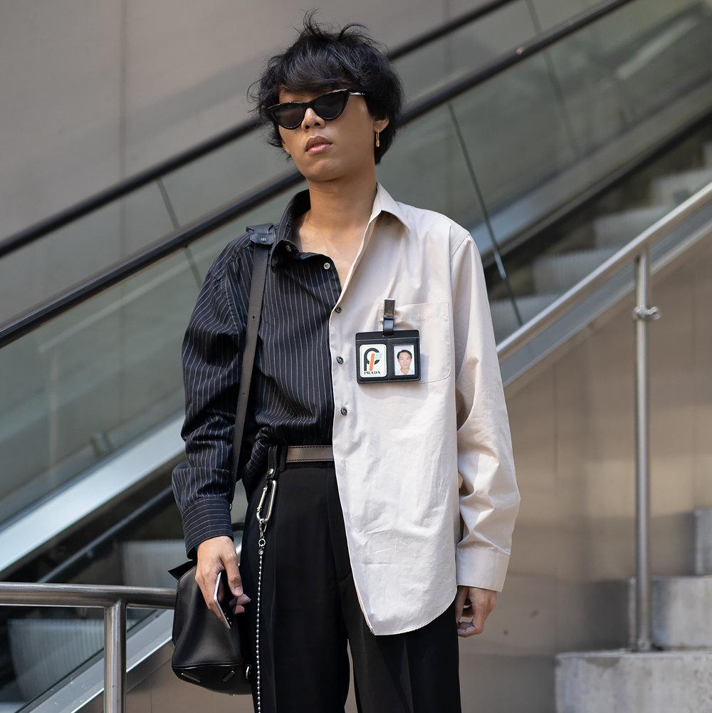 Гость Недели мужской моды вНью-Йорке врубашке Prada, июль 2018