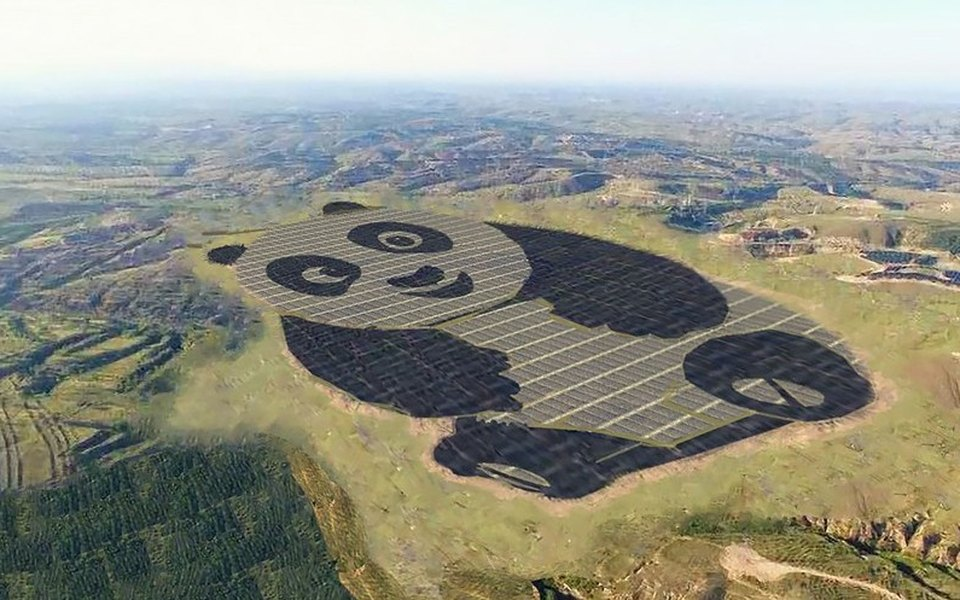 В Китае построили солнечную электростанцию вформе панды